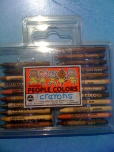 People coloured crayons